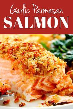 Parmesan Crusted Salmon, Garlic Parmesan, Garlic Butter, Garlic Salmon, Parmesan Recipes, Garlic Recipes, Keto Salmon, Baked Garlic, Lemon Butter