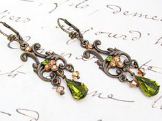 $28  Romantic Victorian inspired chandelier dangle earring with Swarovski crystals. Elegant yet simple!