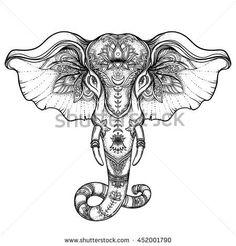 Beautiful hand-drawn tribal style elephant. Coloring book design with boho mandala patterns, ornaments. Ethnic background, spiritual art, yoga. Indian god Ganesha, Thai symbol. T-shirt print, posters