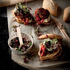 Taste Mag | Mini lamb burgers with roast peppers, black olive salsa and tzatziki @ http://taste.co.za/recipes/mini-lamb-burgers-with-roast-peppers-black-olive-salsa-and-tzatziki/