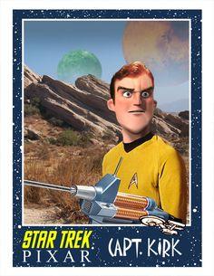 Los personajes de la serie original de Star Trek al estilo Pixar