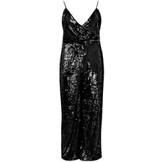 Boohoo Jordyn Sequin Wrap Strappy Jumpsuit | Boohoo ($70) ❤ liked on Polyvore featuring jumpsuits, sequin jumpsuit, wrap jumpsuit, sequin jump suit, jump suit and boohoo jumpsuits