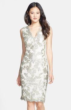 Tadashi Shoji Sequin Lace V-Neck Dress FEATHER SIZE 2 #221 NWT  #TadashiShoji #Sheath #Cocktail