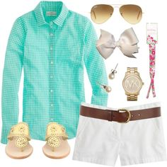 JCrew Button Up, created by classically-preppy on Polyvore. So cute...minus the bow.