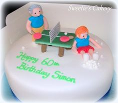 The customer provided me with a marzipan covered fruit cake, I fondant iced it and made the table tennis topper. Cake Table Birthday, Dad Birthday Cakes, Tennis Cake, Marzipan, Fondant, Tart, Cake Decorating, Fruit, Desserts