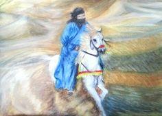 من أعمالي رسم بالمائي .2015 . للصحراء سحر خاص . ..روعة الخيل والفروسيه .. Watercolour painting .2015 .