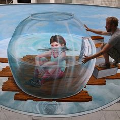 Dutch Artist LEON KEER Creates Pop Surrealist Painting on Street.   Leon Keer born 1970, Utrecht, Netherlands is a Dutch pop surrealist artist who has created work on canvas and 3D artwork on the streets across the world.   http://www.funpalstudio.com/dutch-artist-leon-keer-creates-pop-surrealist-3d-painting-on-street/