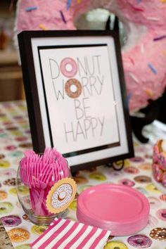 Themed Birthday Party Sign + Partyware from a Donut Themed Birthday Party via Kara's Party Ideas! + Partyware from a Donut Themed Birthday Party via Kara's Party Ideas! Donut Party, Donut Birthday Parties, Birthday Fun, Birthday Ideas, Girls Birthday Party Themes, Birthday Brunch, Breakfast Party, Party Mottos, Grown Up Parties