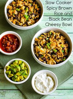 Slow Cooker Spicy Brown Rice and Black Bean Cheesy Bowl (Vegetarian, Gluten-Free)