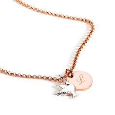 Halskette rosévergoldet mit Gravurronde und kleiner Taube