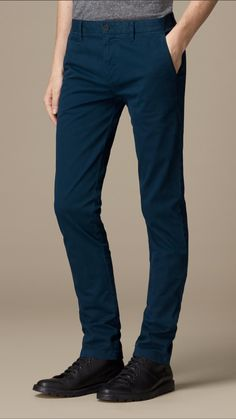 Burberry - Blue Skinny Fit Cotton Twill Chinos