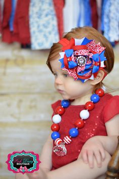 Red, White, and Blue Stacked 4th of July Patriotic Boutique Bow. Memorial Day Bow. via Etsy