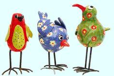 Edith Léon ceramic birds, oiseaux en céramique, keramieken vogels