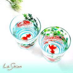 ○●La shion●○青紅葉&金魚(夏)  ハンドペイント ひびガラスタンブラー 2個セット◆日本製