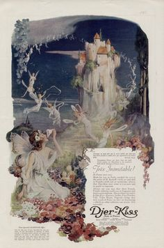 1921 DJER-KISS AD with one large fairy seated and some other smaller ones in flight. A castle is in the background. Illustration by C. Perfume Ad, Antique Perfume Bottles, Vintage Perfume, Vintage Advertisements, Vintage Ads, Vintage Makeup, Vintage Vibes, Vintage Beauty, Fairy Land