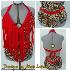 High fashion Halter Cheetah Print and Red Swimsuit /Bathing suit/Swimwear by DesignsbyAlexisLetes on Etsy