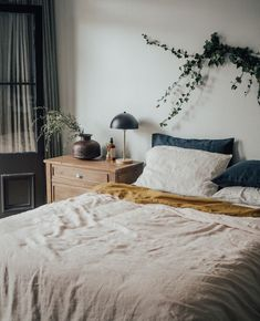 Our Natural French linen Quilt Cover with our Mustard Flat Sheet and Soft Grey Striped pillowcases looking dreamy by the styling of Paulinemorrissey Home Bedroom, Bedroom Decor, Bedding Decor, Bedroom Signs, Bedroom Rustic, Master Bedrooms, Bedroom Apartment, Apartment Therapy, Bedroom Ideas
