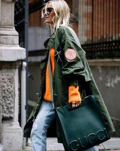 + яркий свитер, военный, винтажный верх, крутая сумка - мне не идёт оранжевый, т.е. это будет работать только на улице