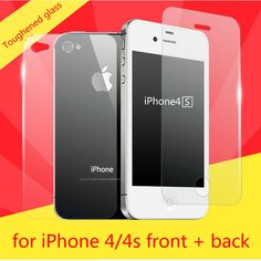 Protective glass on the for iPhone 4 4s on the protective glass Front + Back Tempered Glass Screen Protector Film