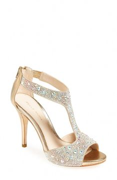 2a5a3bdcb0a0ad These embellished gold t-strap sandals are perfect for prom.  Promshoes T-