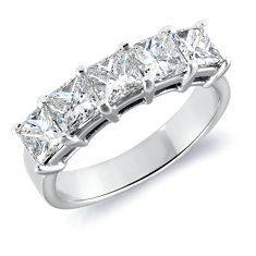 Five-Stone Princess-Cut Diamond Ring in Platinum (2 ct. tw.)