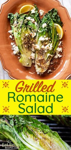 Grilled Romaine Salad Recipe for Summer Grilling! - Healthy and Low Carb - Salad Lettuce Recipes, Chef Salad Recipes, Healthy Vegetable Recipes, Summer Salad Recipes, Healthy Salad Recipes, Summer Salads, Savoury Recipes, Diet Recipes, Healthy Food