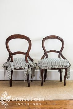 the chairs with the ticking skirts - Miss Mustard Seed