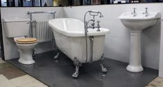 Ryther Slipper Bath Suite including taps from only £699.99 tecaz.com Great value for creating a traditional style bathroom #slipperbathsuite #rolltopsuite