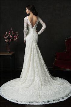 Mermaid Deep V Back Long Sleeve Vintage Lace Wedding Dress With Sash