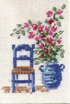Flower and a chair cross stitch. Cross Stitch House, Cross Stitch Cards, Cross Stitch Borders, Simple Cross Stitch, Cross Stitch Flowers, Cross Stitch Designs, Cross Stitching, Cross Stitch Embroidery, Hand Embroidery