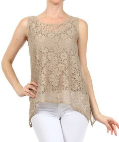 Don distinctive style with this feminine tank. Combining delicate lace with a sultry sheer construction and split back, it's an out-of-the-ordinary pick that's designed to get noticed.