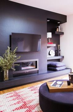 ideas for living room tv wall ideas behind couch Living Room Shelves, Living Room Grey, Living Room Decor, Living Spaces, Family Room Design, Fireplace Wall, White Rooms, Living Room Inspiration, Decoration