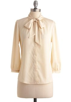 Vanilla Milk Top, #ModCloth High-necked ivory blouse with three-quarter sleeves and bow $44.99