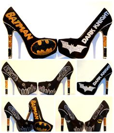 Batman and Dark Knight Heels with the Batmoblie and Tumber hand painted emblished with Swarovski crystals  Custom Made by Wicked Addiction on Etsy