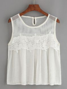 SheIn offers White Mesh Neck Crochet Applique Tank Top & more to fit your fashionable needs. Mode Outfits, Casual Outfits, Summer Outfits, Fashion Outfits, Blouse Models, Linens And Lace, Mode Style, Lace Tops, Casual Looks