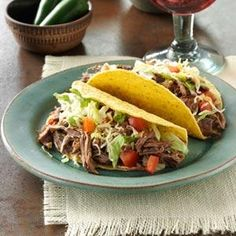 The meat in this Mexican-Style Pot Roast Filling Recipe from Taste of Home absorbs the juices which gives a fantastic taste. It is perfect as a filling for tacos, burritos or enchiladas and freezes well.