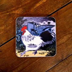 Hard-wearing melamine #coaster featuring a beautiful #chicken #design by #British #artist Jenny Tylden-Wright.  #farm #countryside #cockeral #rooster #hen #wildife