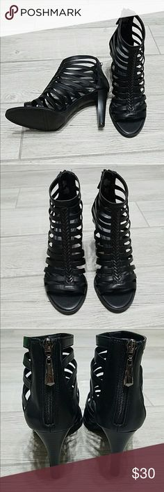 Black Strappy Caged Sandals 8.5 Comfortable and soft leather straps! Bought from another posher but did not fit. These shoes are lovely and they are new in original box. Feel free to ask any questions! Simply Vera Vera Wang Shoes Ankle Boots & Booties