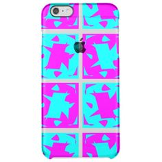 Cyan & Pink abstract Design Clear iPhone 6 Plus Case