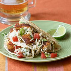 Fish Tacos with Cabbage Slaw   MyRecipes.com
