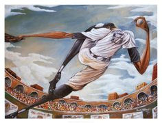 The Pitch by Frank Morrison depicts an African-American pitcher rearing back to deliver a pitch in front of a sold out crowd. African American Culture, African American Artist, African Art, American Artists, Frank Morrison Art, Identity, Baseball Art, Black Artwork, Afro Art