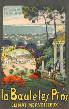 """Affiche retro vintage """"La Baule les Pins - Affiche de l'illustrateur VILA"""