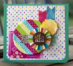 Hello There card - by Leslie Ashe using the Amy Tangerine Sketchbook collection from American Crafts. #americancrafts #cards #scrapbooking #amytangerine #ribbon