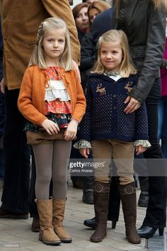 Princess Leonor of Spain and Princess Sofia of Spain visit King Juan Carlos of Spain at USP San...
