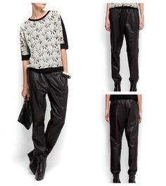 Mango leather baggy pants