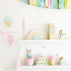 Pretty pastel spring inspired nursery decor ideas - Get pastel nursery insporation from these pretty kids rooms, with sweet colour palettes and more! Pastel Room Decor, Pastel Bedroom, Pastel Nursery, Pastel Girls Room, Rainbow Nursery Decor, Rainbow Bedroom, Girls Bedroom, Bedroom Decor, Bedroom Ideas