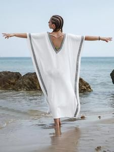 Loose Plus Size V-neck Beach Cover-ups – cicklive – Daily Fashion Tips Plus Size Beach, Plus Size Summer, Bohemian Kimono, Beach Cover Ups, Summer Maxi, Swimwear Fashion, Daily Fashion, Women's Fashion, Fashion Tips