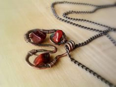 Red Jasper Wire Copper Pendant Necklace by JennieVargasJewelry,