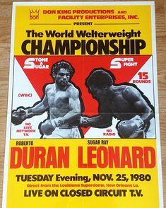 "Roberto Duran v. Sugar Ray Leonard - ""No Mas! Wrestling Posters, Boxing Posters, Boxe Mma, Combat Boxe, Grudge Match, Boxing History, Nostalgic Images, Boxing Fight, Boxing Champions"
