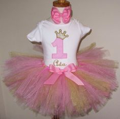 This is so going to be her party outfit!!! LOVE!   Girls First Birthday Outfit Tutu Set Onsie 1 by BirthdayCouture4U, $44.99